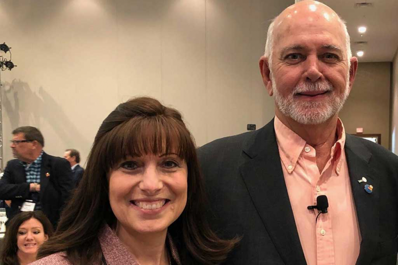 PE Kelly Altosino-Sastre with RI President-Elect Barry Rassin at PETS2018
